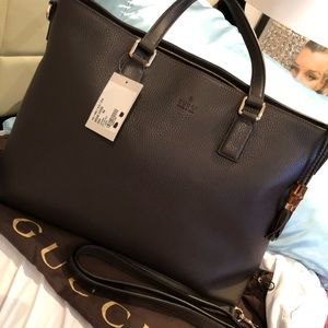 Brand new authentic Gucci calf leather bamboo tote